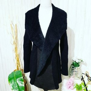 Cato Open Front Black Cardigan Size Small